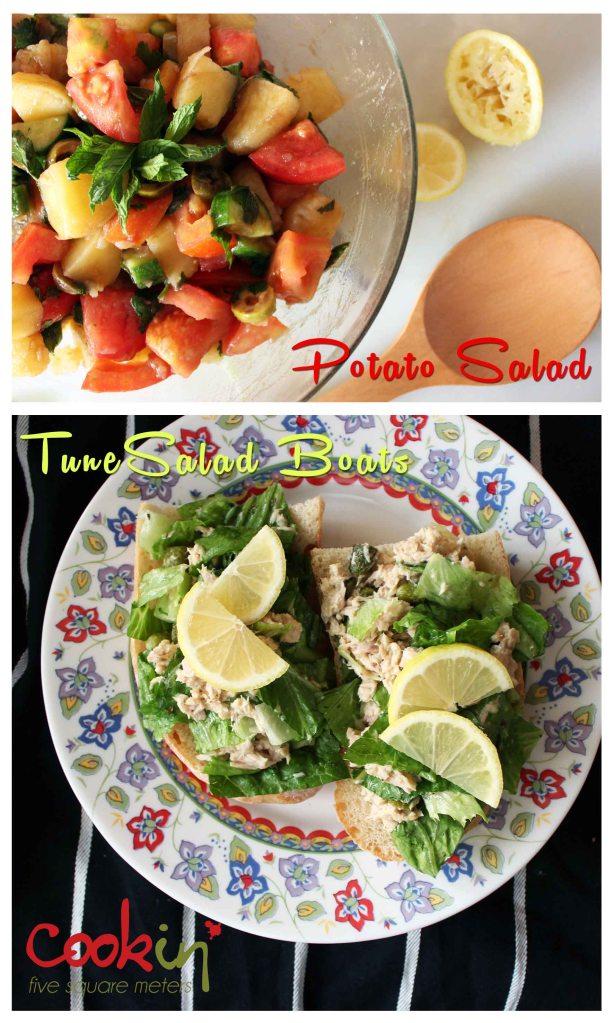 Potato Salad and Tuna Salad Boats