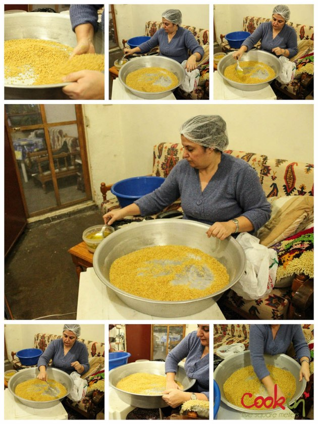 Rolling maftoul with a mixture of oil, water and yeast then adding flour