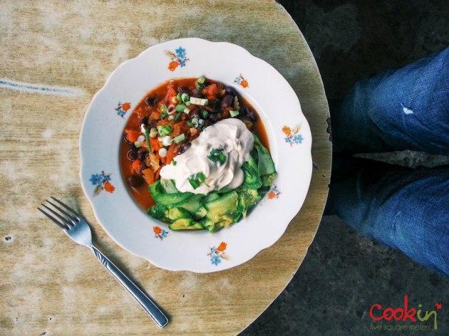 Vegetarian Chili with Zucchini Ribbons - Breakfast