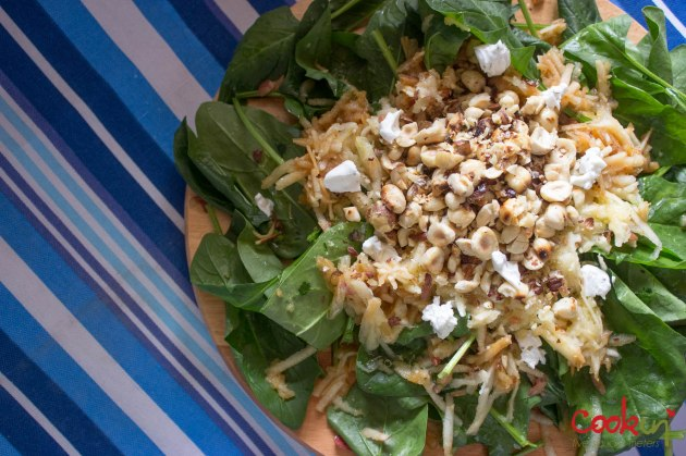 creamy mushroom farfalle and spinach salad_cookin5m2-2