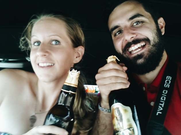 Verity and I behaving very lady-like; Beer from the bottle in the Tuktuk