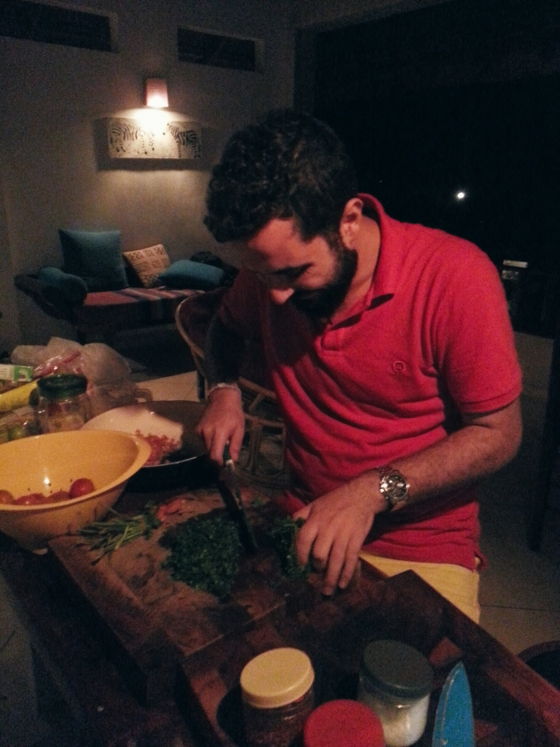 Look Ma! I'm chopping parsley in Sri Lanka