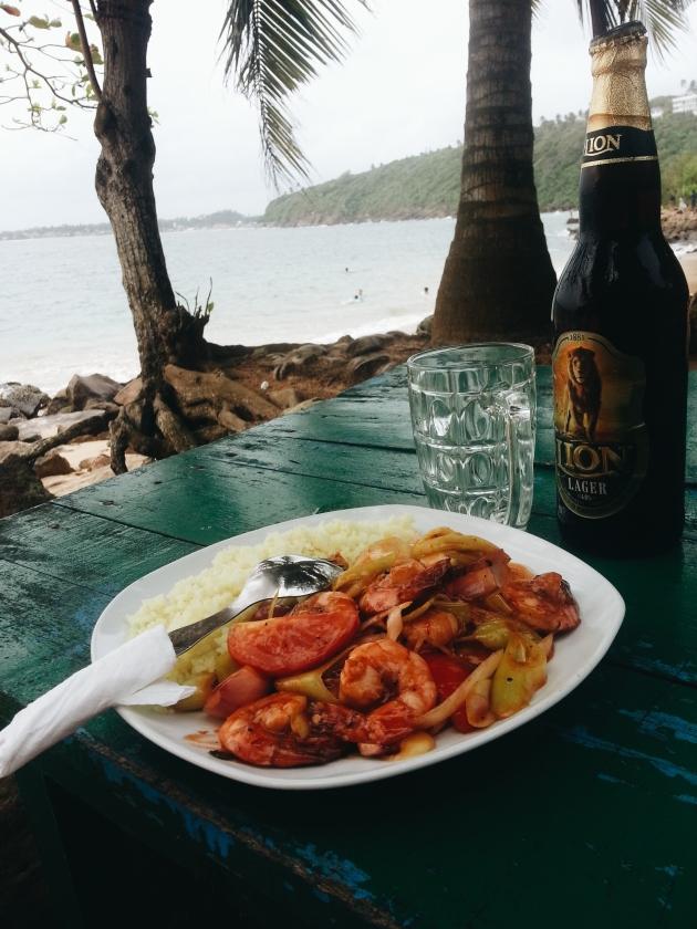 Deviled Shrimps with Lion Lager