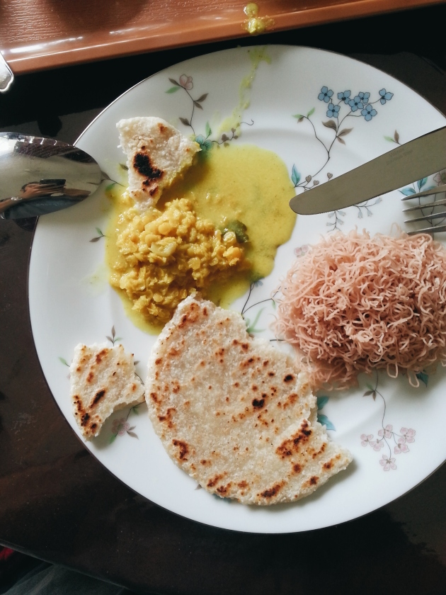 Daal, rotti and string hoppers by Piyal's wife at Villa Orenka