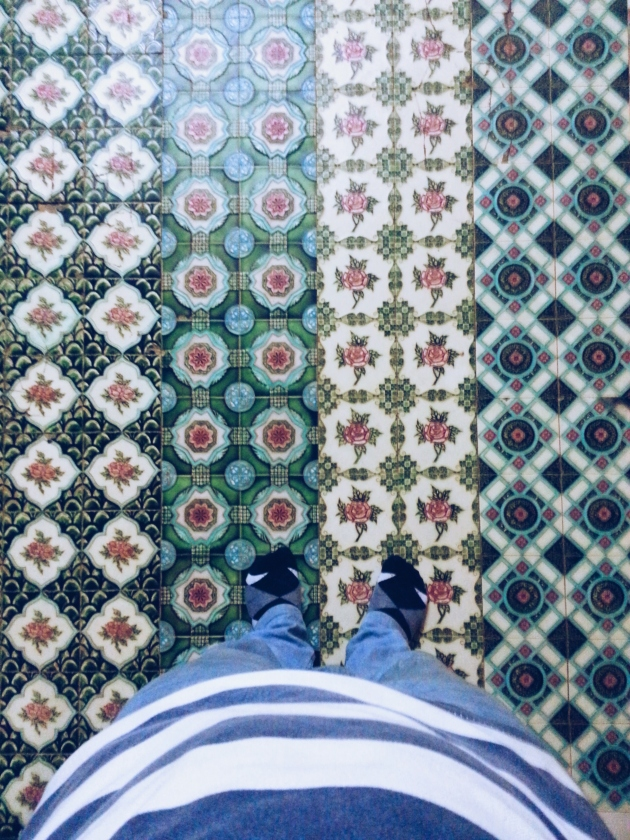 4 different tile patterns (excluding my socks) at the Temple of the Sacred Tooth