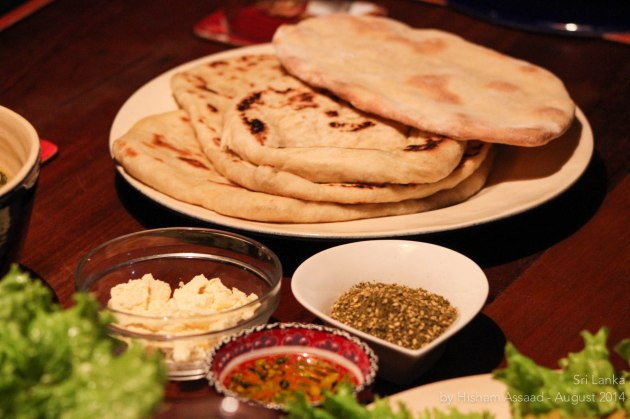 Flat bread, zaatar and olive oil for starters