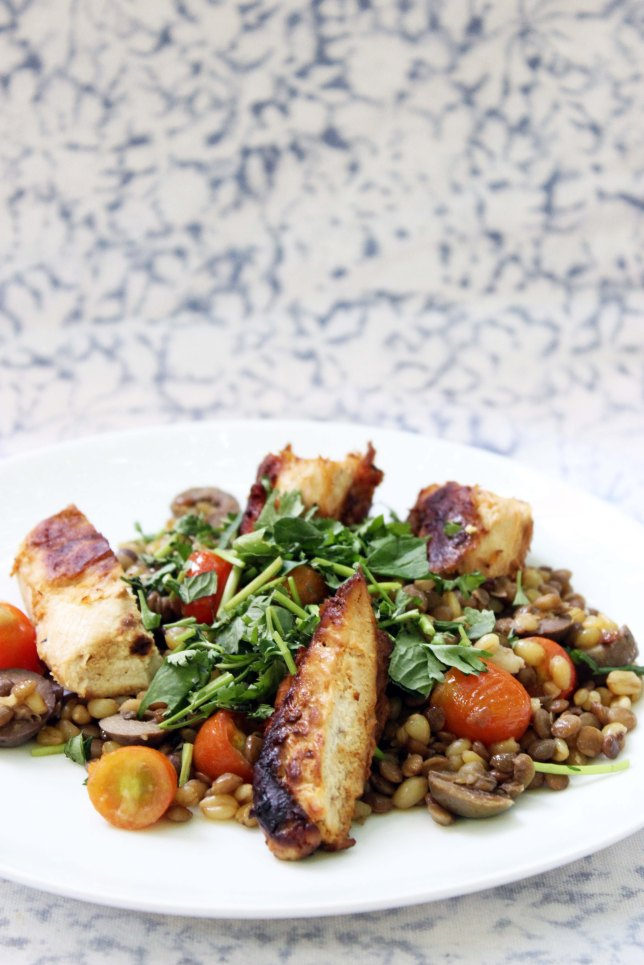 Grilled Chicken on a Bed of Wheat and Lentils recipe cookin5m2