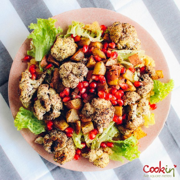 Roasted Vegetables with quinoa and pomegranates salad recipe - cookin5m2-2