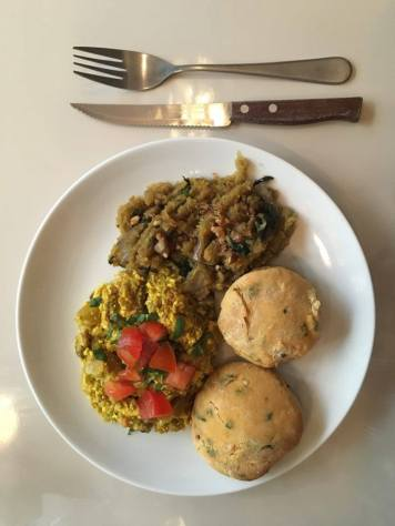 Vegan Scramble with Sweet Potato Hash and Dill Biscuits