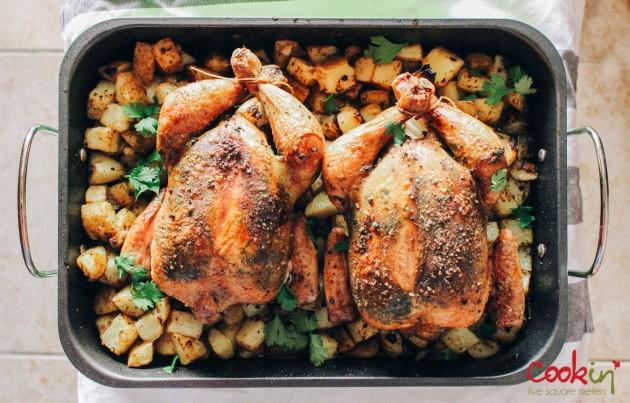 Coriander Roast chicken with roast potatoes recipe - cookin5m2-1