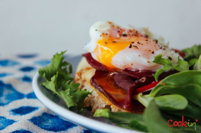 Open-faced Bresaola & Poached egg Sandwich recipe - cookin5m2-5