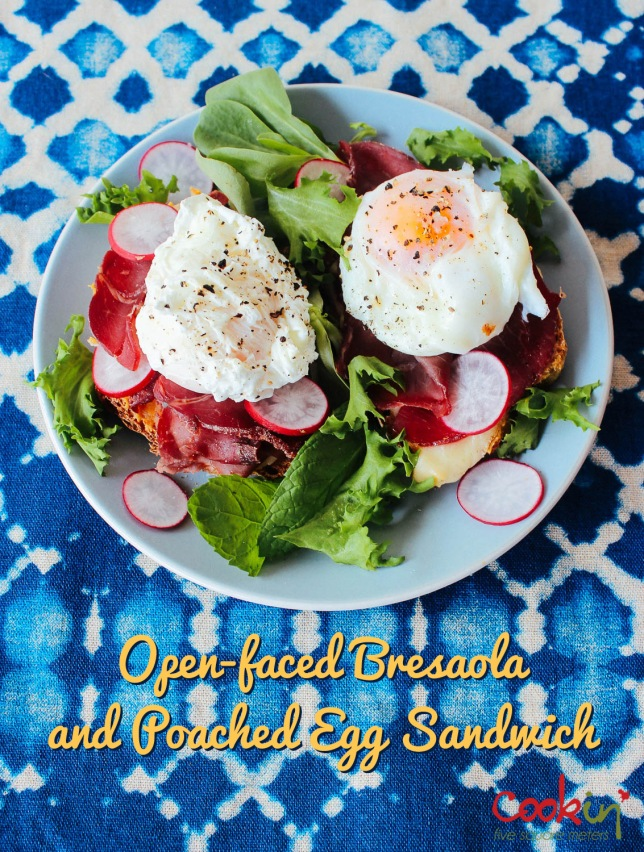 Open-faced Bresaola & Poached egg Sandwich recipe - cookin5m2- PIN