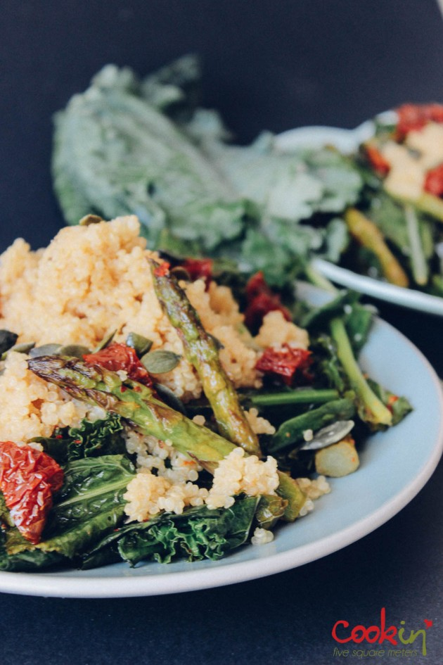 Quinoa kale asparagus salad recipe - cookin5m2-3
