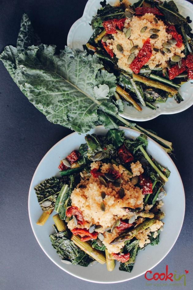 Quinoa kale asparagus salad recipe - cookin5m2-4