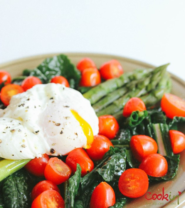 Asparagus kale tomato salad with poached egg recipe - cookin5m2-4