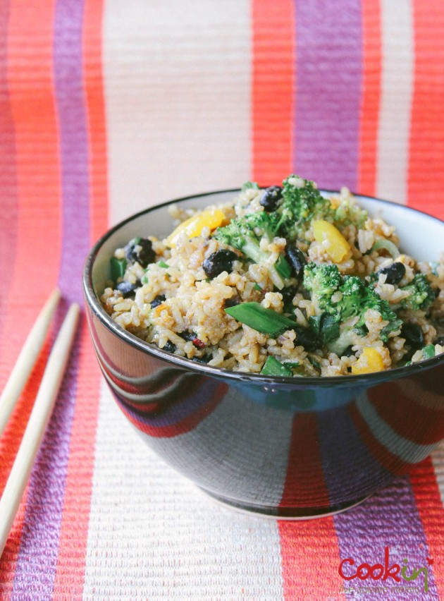 Black Bean Broccoli fried rice recipe - cookin5m2 -1