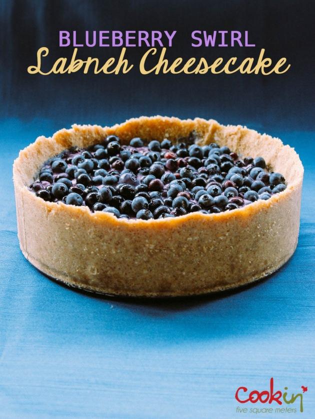Blueberry Swirl Labneh Cheesecake recipe - cookin5m2 -PIN