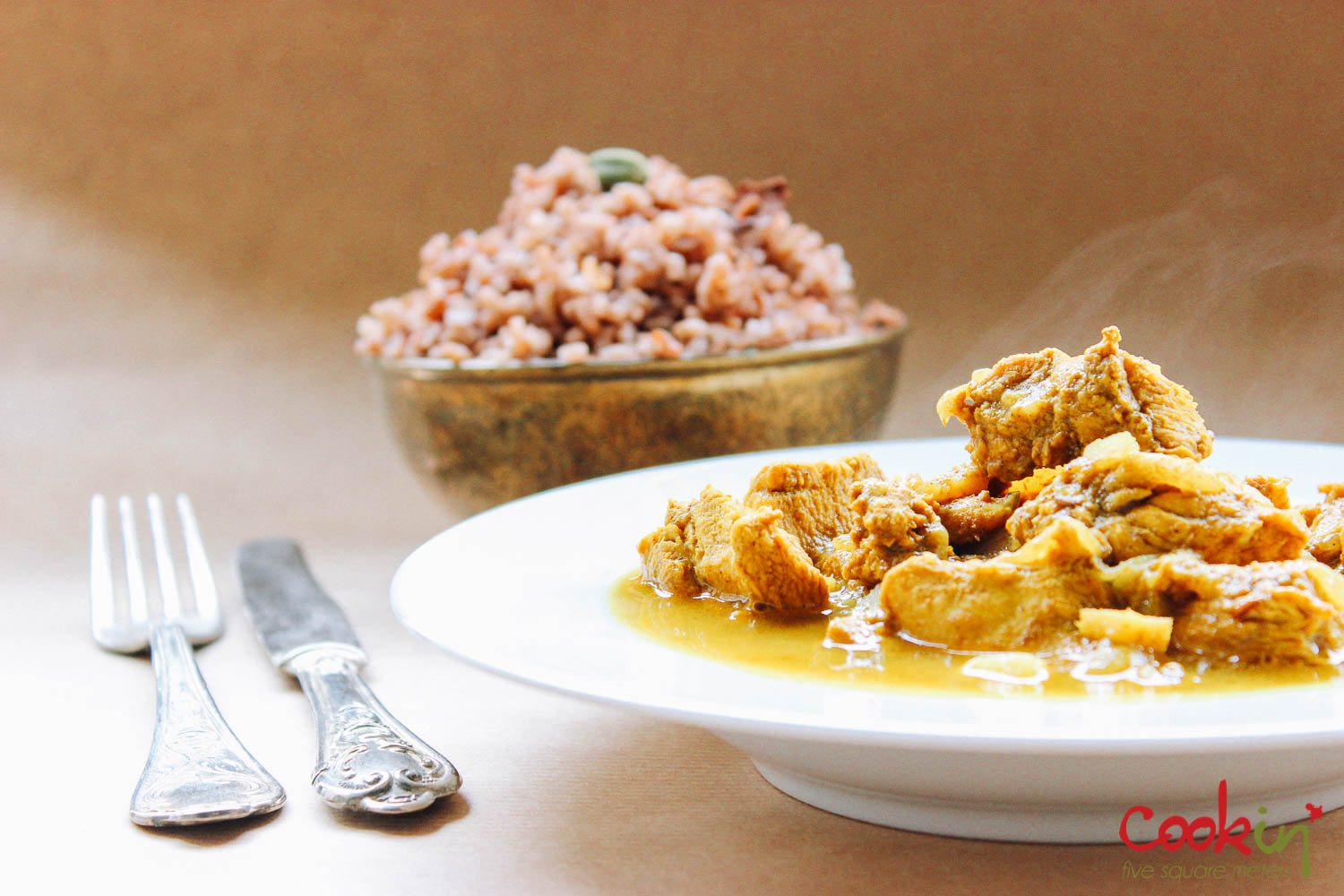 Chicken Curry with Aromatic Red Rice recipe - cookin5m2 -1