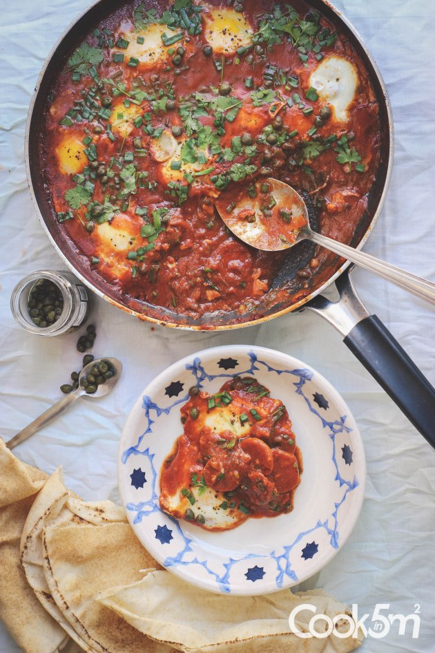 Shakshouka with sausage and capers recipe cookin5m2-0548-2.jpg