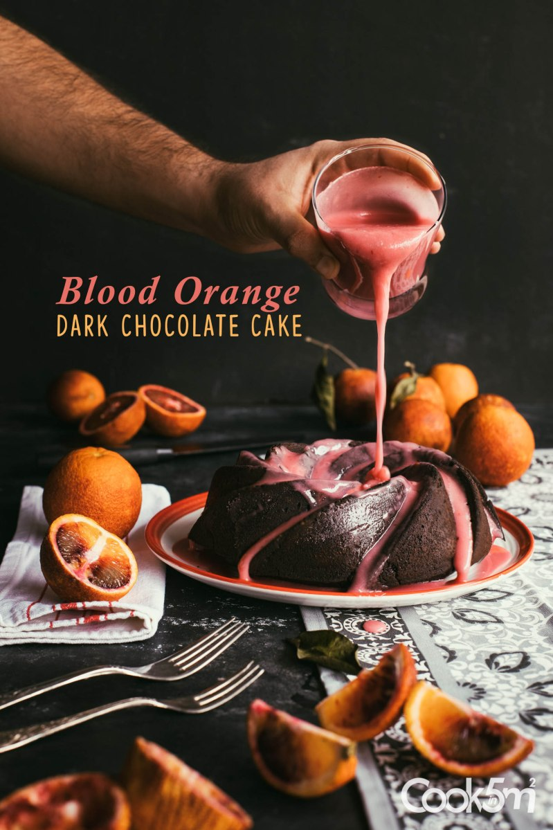 Blood Orange Dark Chocolate Cake with Blood Orange Glaze